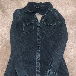 Long Sleeve Button Down Distressed Shirt